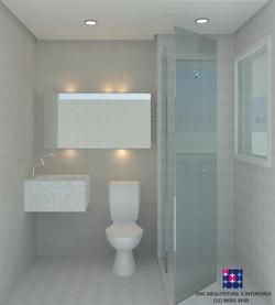 banho suite olhando espelho