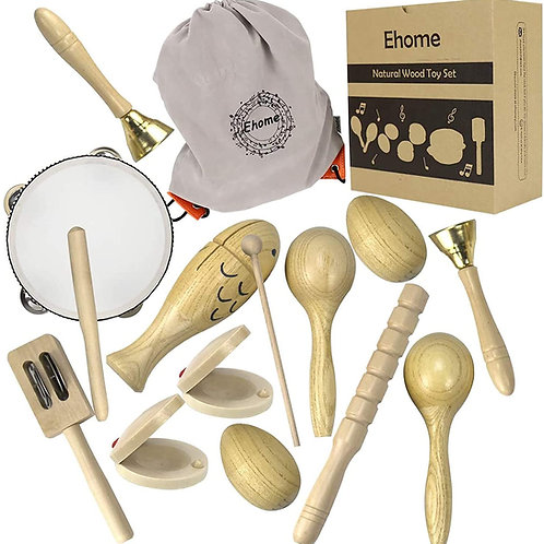 Ehome Toddler Musical Instruments, Natural Wood Percussion Instruments Toy