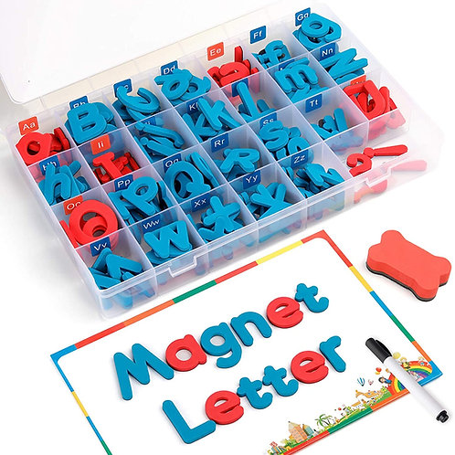 Coogam Magnetic Letters 208 Pcs with Magnetic Board and Storage Box