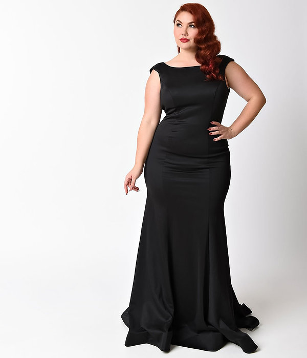 Plus_Size_Black_Ruffle_Back_Long_Dress_1