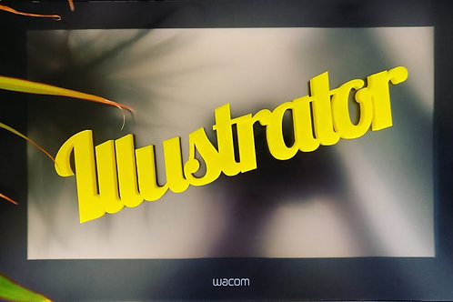 Illustrator text 3d printed. Many colours. For desktops or above monitors.