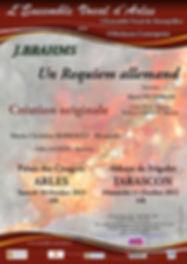 Affiche du programme du Requiem allemand de Brahms pour les concerts de l'Ensemble Vocal d'Arles