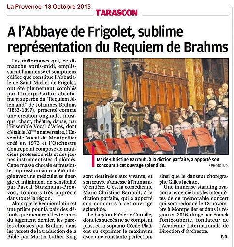 Article Provence après Concert Frigolet