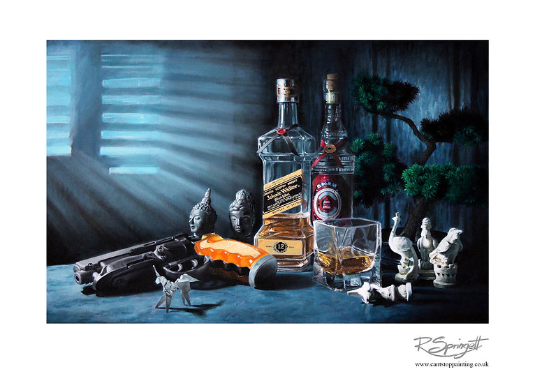 Moments Lost, a still ife oil painting by Robin Springett inspired by Blade Runner