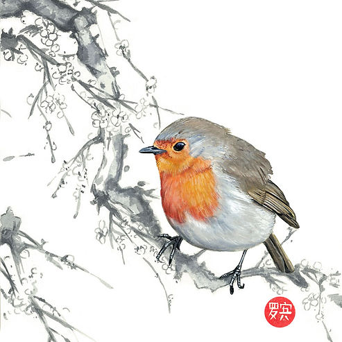 Watercolour painting of a robin at christmas with a Chinese theme.  Designed and created by UK artist and prop maker Robin Springett