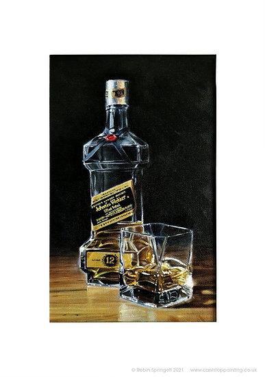 Johnny Walker Whiskey Bottle Painting