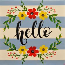 """Hello"" Canvas Sign"