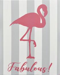 """Fabulous Flamingo"" Canvas Sign"