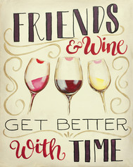 """Friends and Wine"" Canvas Sign"