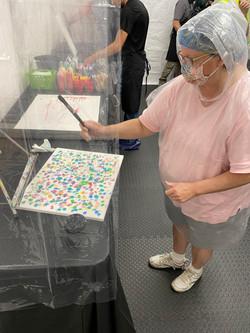 Kathy splatting her dot, dot, dots!