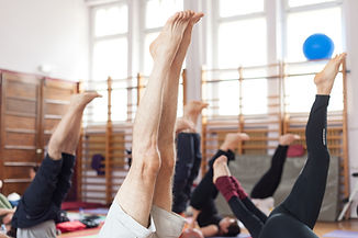 Shoulder stand in yoga class