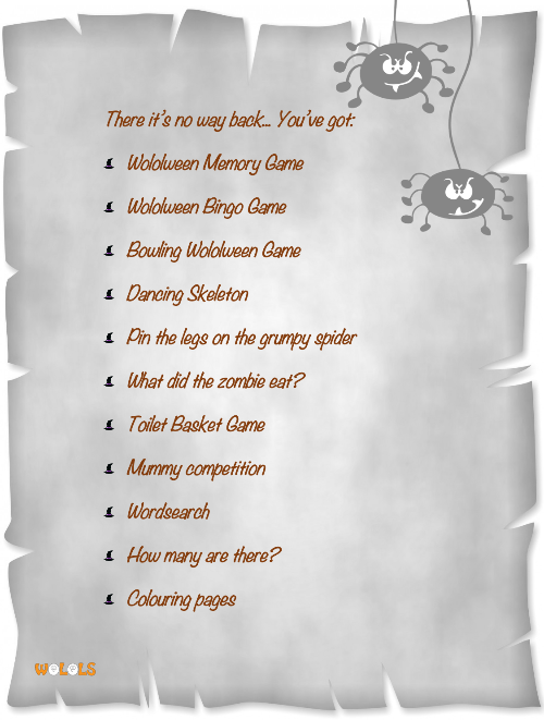 Halloween Wolols activity book content.p