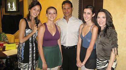 American Ballet Theatre dancer Melanie Hamrick, Jose Manuel Carreno, and MaryElizabeth Mock with ballet students Dea Hall and Andrea Roche
