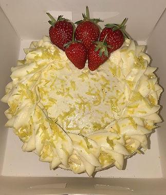Classic lemon cake finished with fresh s