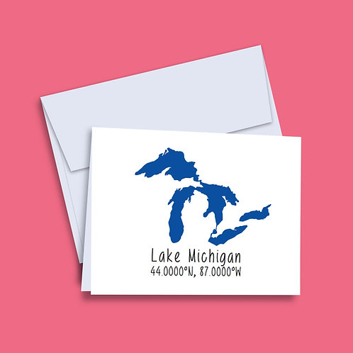 'Lake Michigan Coordinates' Card