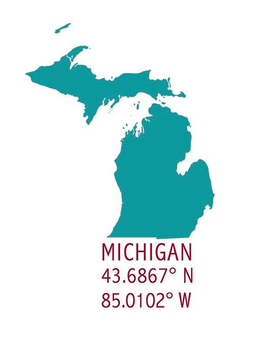 Teal 'Michigan Coordinates' Artwork