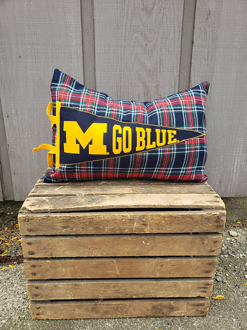 U of M Plaid Pennant Pillow
