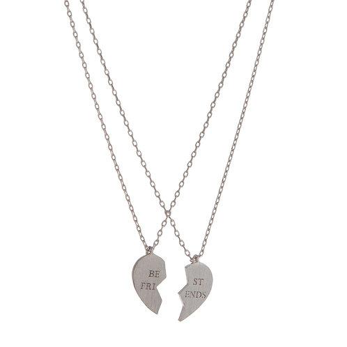 Silver 'Best Friends' Two-Piece Necklace Set