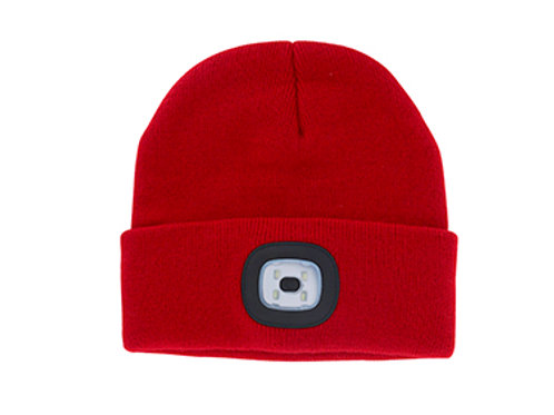 Red Unisex Night Scout Rechargeable Led Beanie