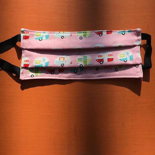 Campers on Pink Background Mask Elastic