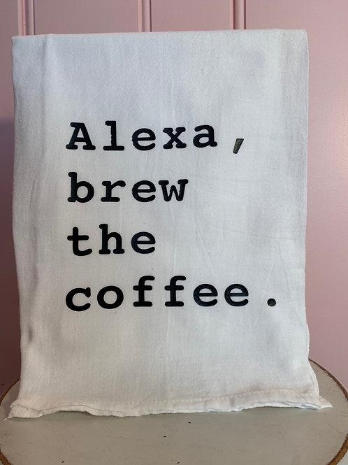 """Alexa, brew the coffee."" Kitchen Towel"