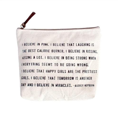 I Believe In Pink.  Canvas Zipper Bag