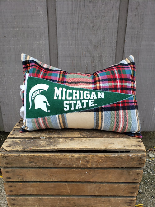 MSU Plaid Pennant Pillow