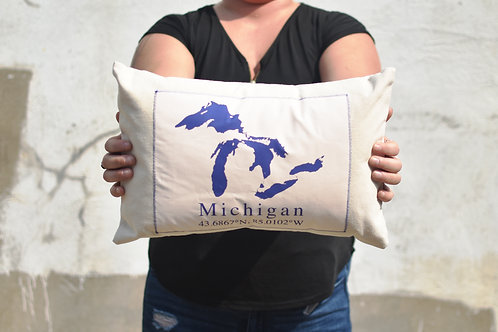 Great Lakes with Michigan Coordinates Pillow