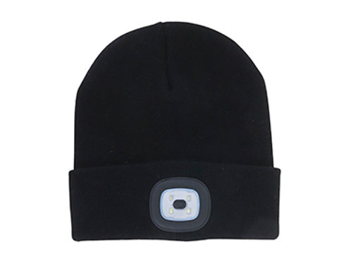 Black Unisex Night Scout Rechargeable Led Beanie