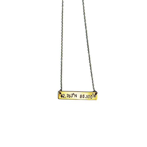 'Holland, Michigan' Coordinates Bar Necklace