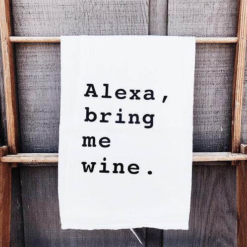 """Alexa, Bring Me Wine"" Kitchen Towel"