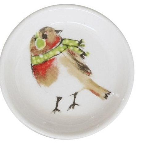 Bird with Green Earmuffs & Scarf Trinket Dish