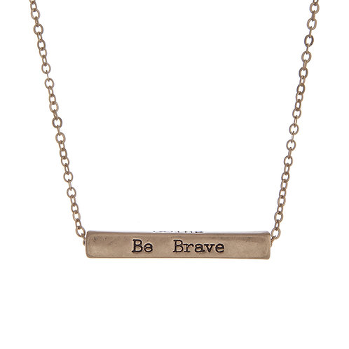 Gold 'Be Brave and Keep Going' Necklace