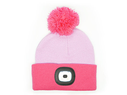 Pink Kids Rechargeable LED Beanie