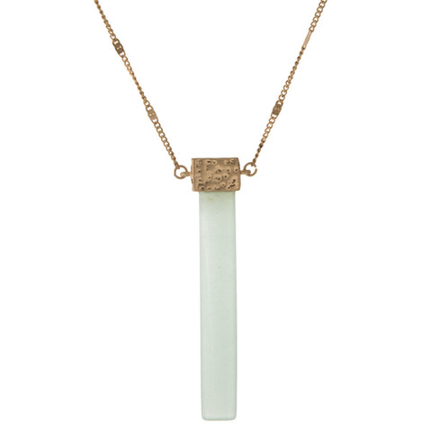 Mint green pendant necklace gold tone necklace displaying an mint green rectangle pendant approximately 32 in length mozeypictures Gallery