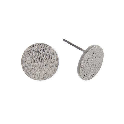 Silver Textured Circle Earrings