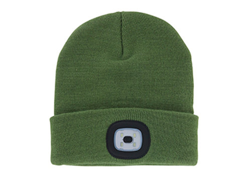 Olive Unisex Night Scout Rechargeable LED Beanies