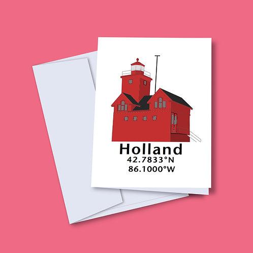 'Holland Coordinates' Lighthouse Card
