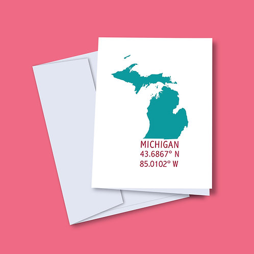 Teal 'Michigan Coordinates' Card