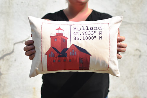 Holland Lighthouse Coordinates Pillow