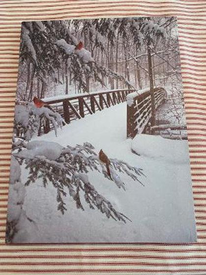 Cardinals on a Snowy Day Light Up Art Work