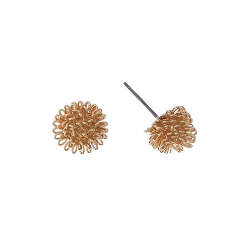 Gold Wire Flower Earrings