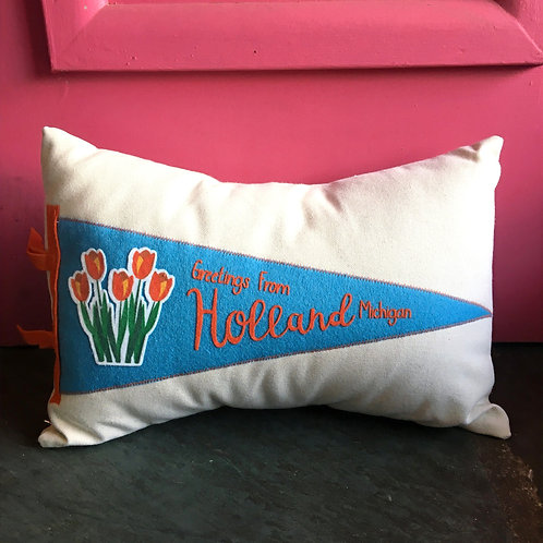 Greetings from Holland Pennant Pillow