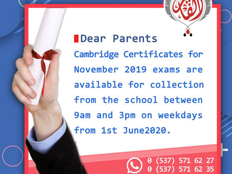 Cambridge Certificates for November 2019 exams are available