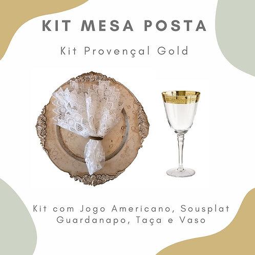 Kit Mesa Posta 12 lugares + 5 Vasos P com Arranjo Floral