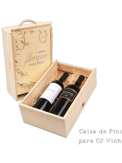 Caixa de madeira Pinus 2 vinhos