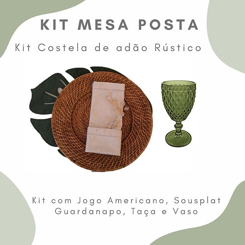 Kit Mesa Posta 2 lugares + 1 Vaso P com Arranjo Floral