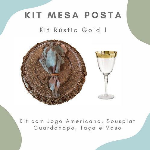 Kit Mesa Posta 10 lugares + 4 Vasos P com Arranjo Floral