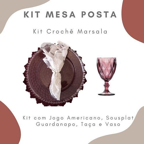 Kit Mesa Posta 6 lugares + 2 Vasos P com Arranjo Floral
