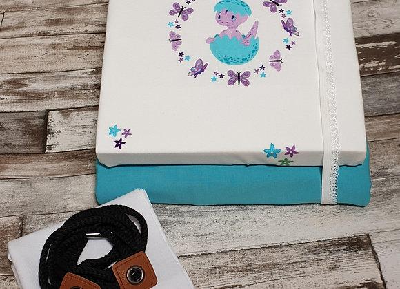 Stoffpaket Panel Dino im Ei (blau)